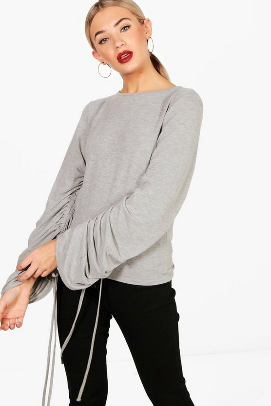 Oversized Rouched Sleeve Jumper