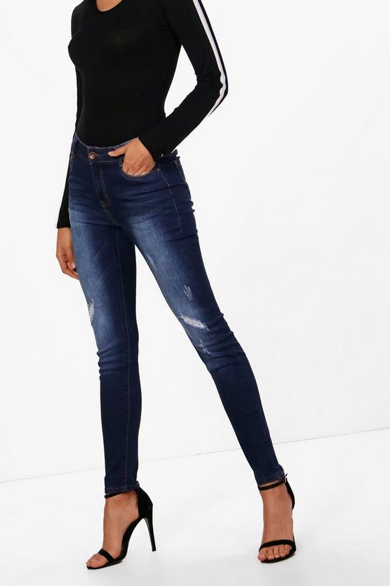 Kat Distressed Mid Rise Skinny Jeans