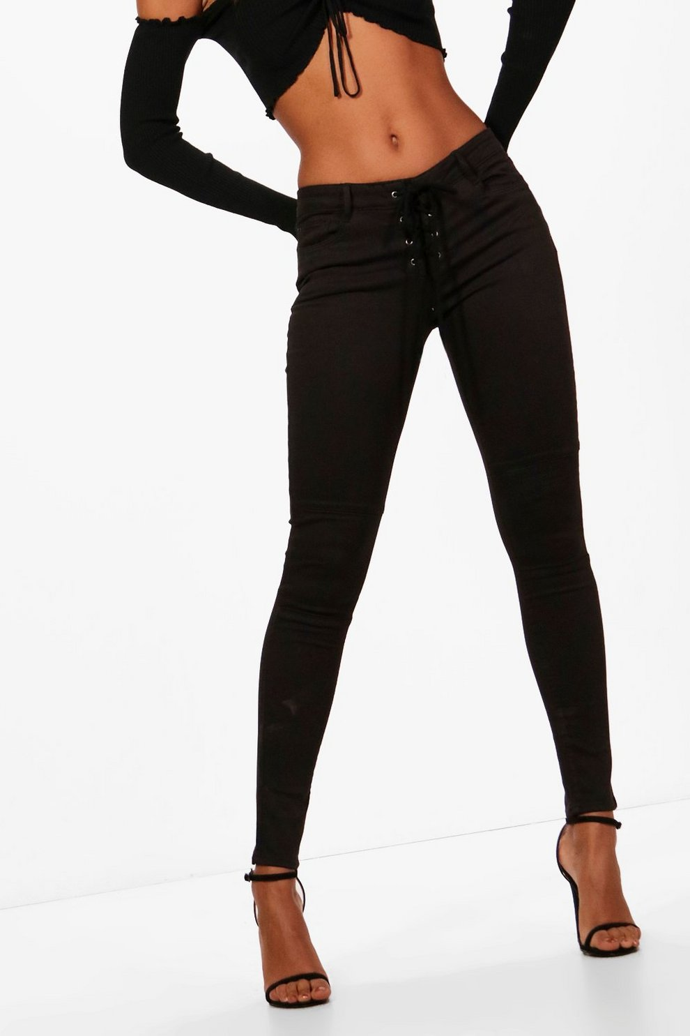 3e602fdf851 Jenna Low Rise Lace Up Front Skinny Jeans
