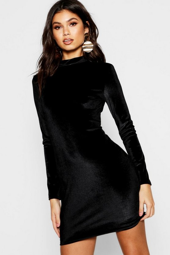 Velvet High Neck Long Sleeve Bodycon Dress