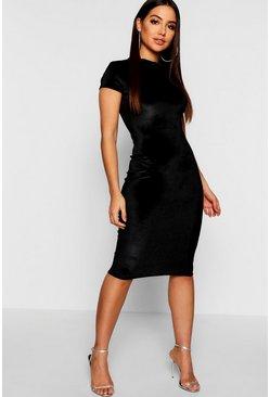 Jen High Neck Velvet Bodycon Women's Midi Dress (3 color options)
