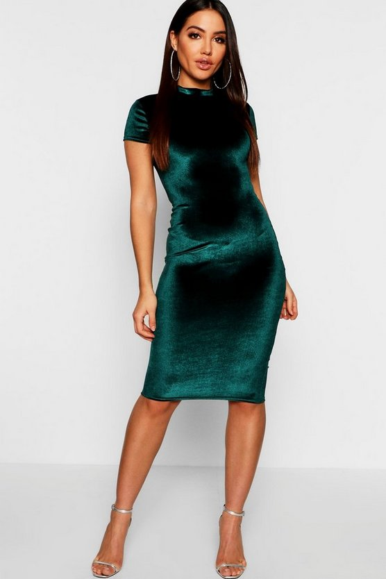 Emerald Jen High Neck Velvet Bodycon Midi Dress