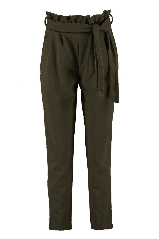 cintura recta de pernera Pantalones Caqui fruncida en HA4xw