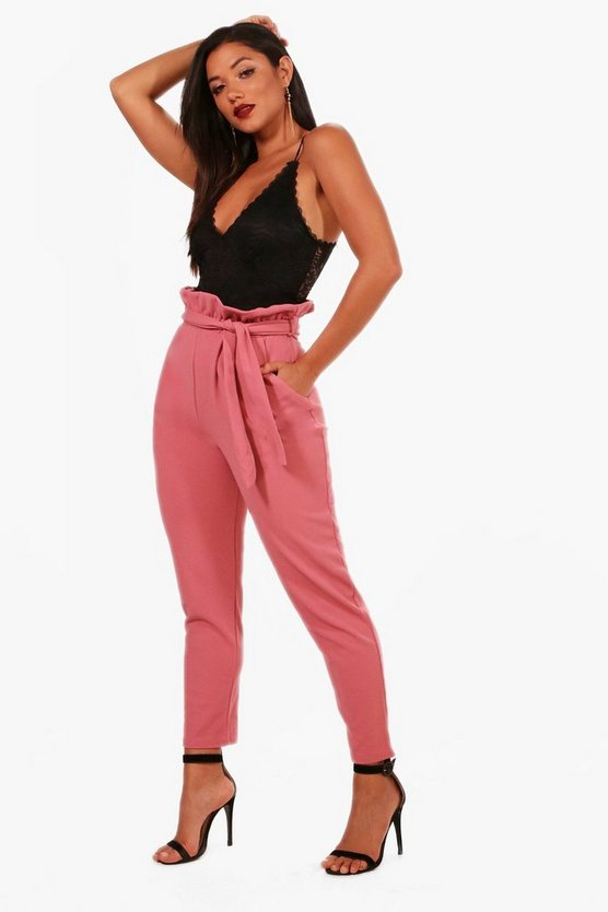 Paperbag Waist Straight Leg Trousers