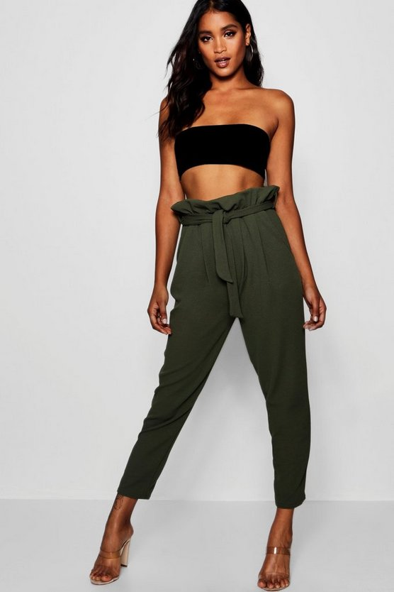 Womens Sage Paperbag Waist Straight Leg Trousers