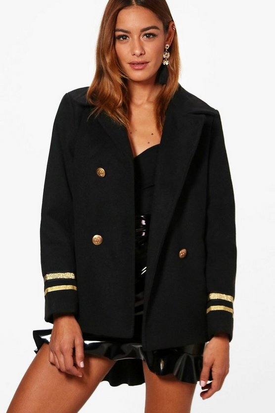 Womens Black Short Military Wool Look Coat