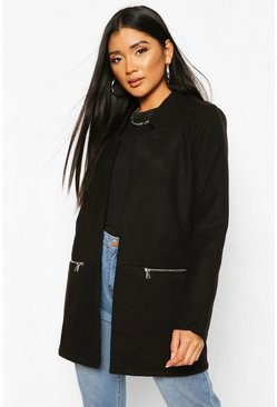 Womens Black Zip Pocket Wool Look Coat