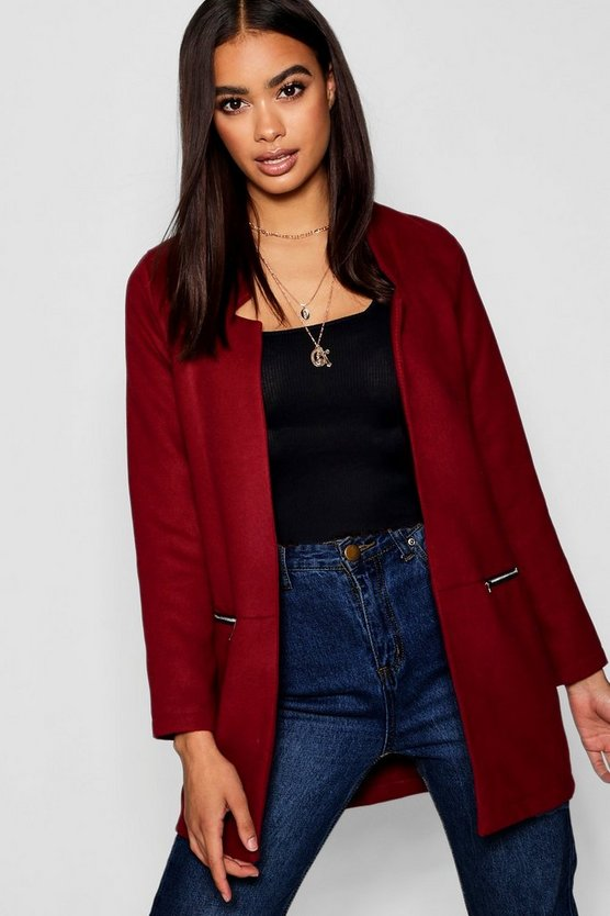 Womens Burgundy Zip Pocket Wool Look Coat
