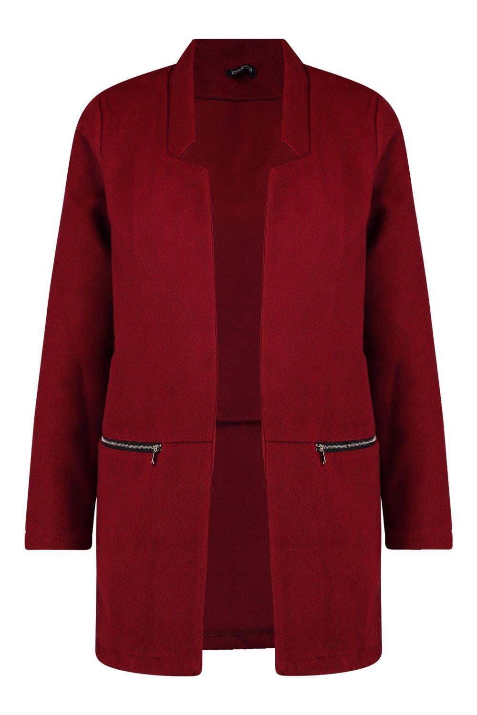 burgundy Look Pocket Coat Zip Wool fgcIPYa