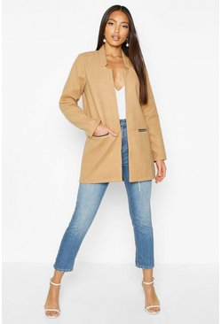 Womens Camel Zip Pocket Wool Look Coat