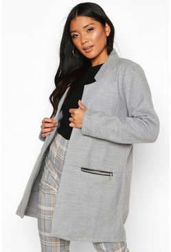 Womens Light grey Zip Pocket Wool Look Coat