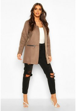 Mocha Zip Pocket Wool Look Coat