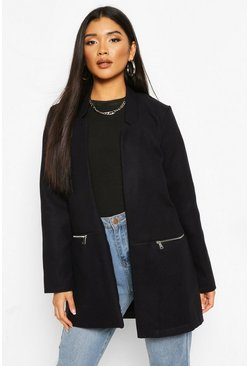 Navy Zip Pocket Wool Look Coat