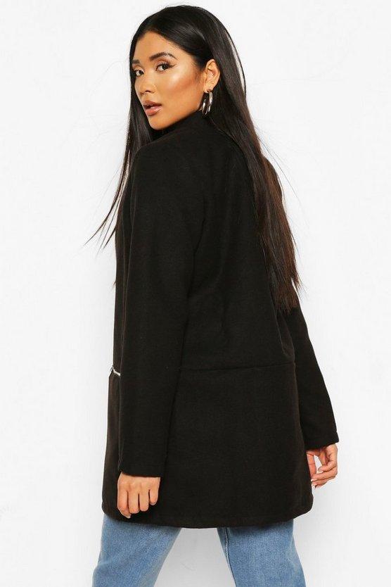 Zip Pocket Wool Look Coat