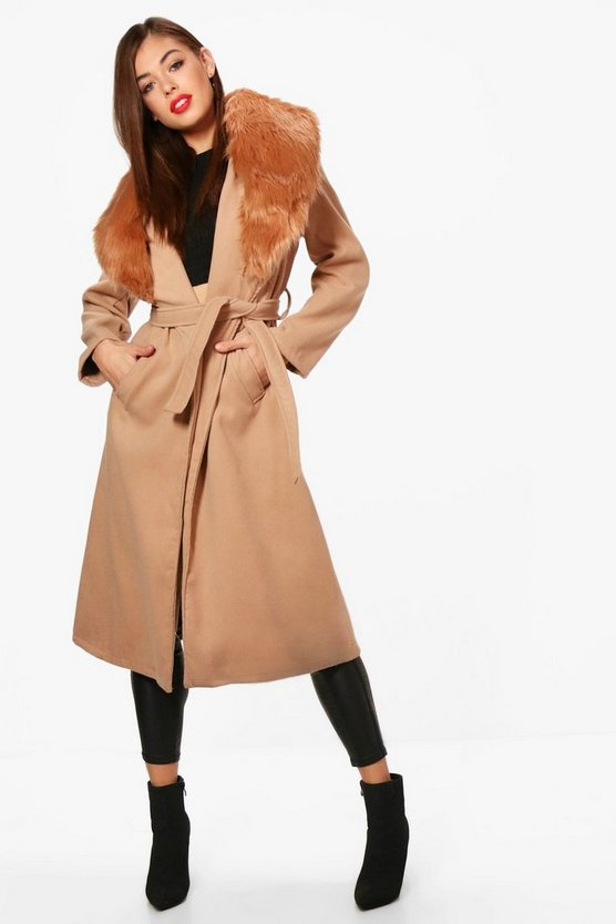 Detachable Faux Fur Collar Wool Look Coat
