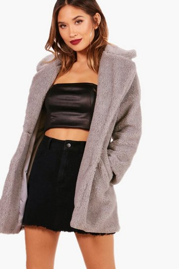 Grey Faux Fur Teddy Coat