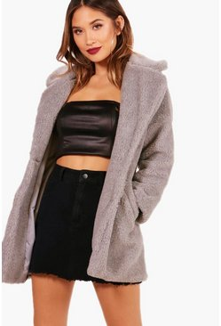 Womens Grey Faux Fur Teddy Coat