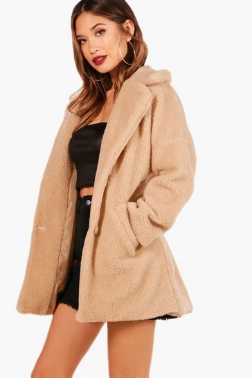 Womens Stone Faux Fur Teddy Coat