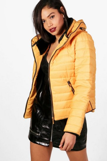 Womens Mustard Quilted Jacket