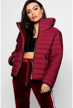 Womens Wine Quilted Jacket