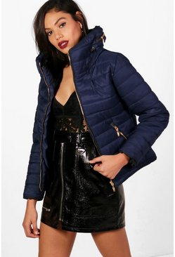 Womens Navy Quilted Jacket