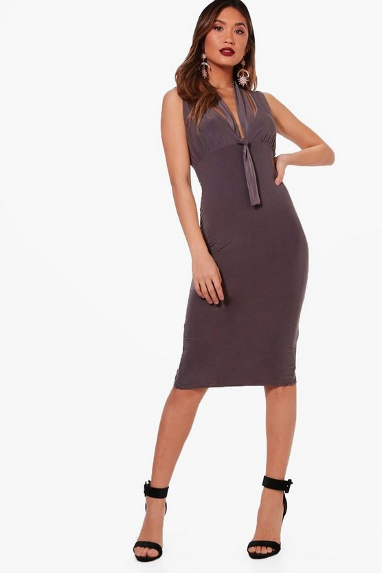 Strappy Plunge Bodycon Dress