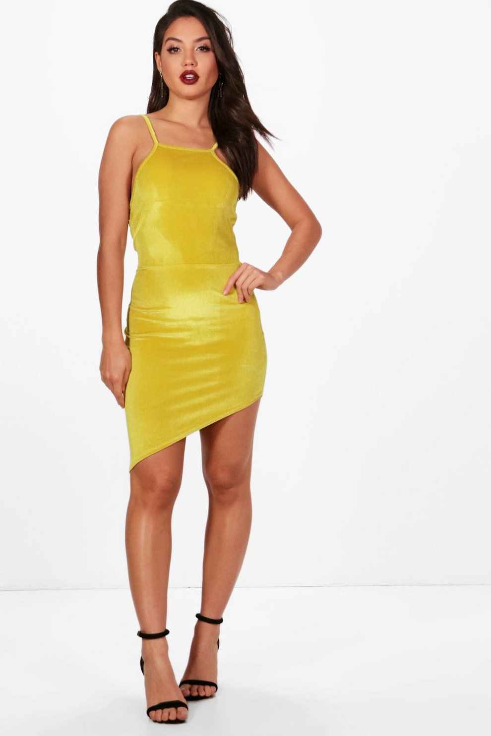 f9b20f2db4 Womens Chartreuse Velvet Asymmetric Bodycon Dress. Hover to zoom
