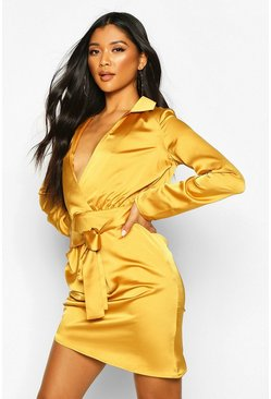 Womens Bronze Satin Wrap Detail Dress
