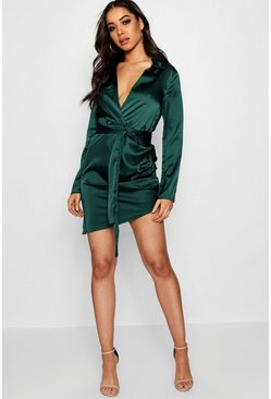 Emerald Satin Wrap Detail Dress