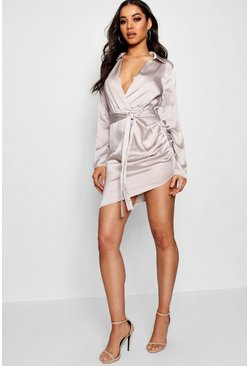 Womens Grey Satin Wrap Detail Dress