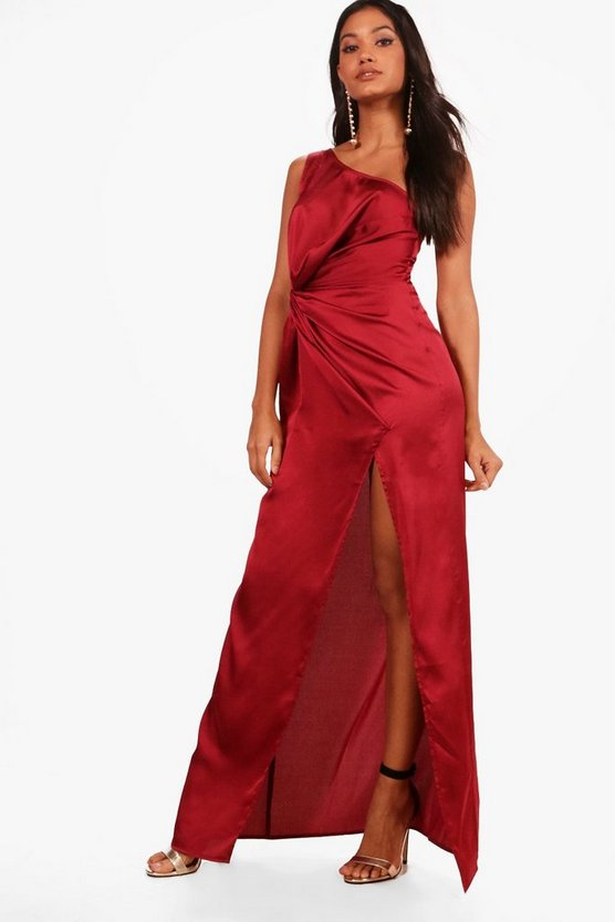 Satin One Shoulder Ruched Maxi Dress