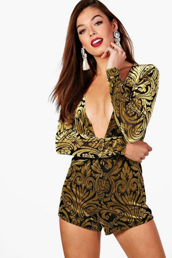 Burn Out Velvet Twist Front Playsuit