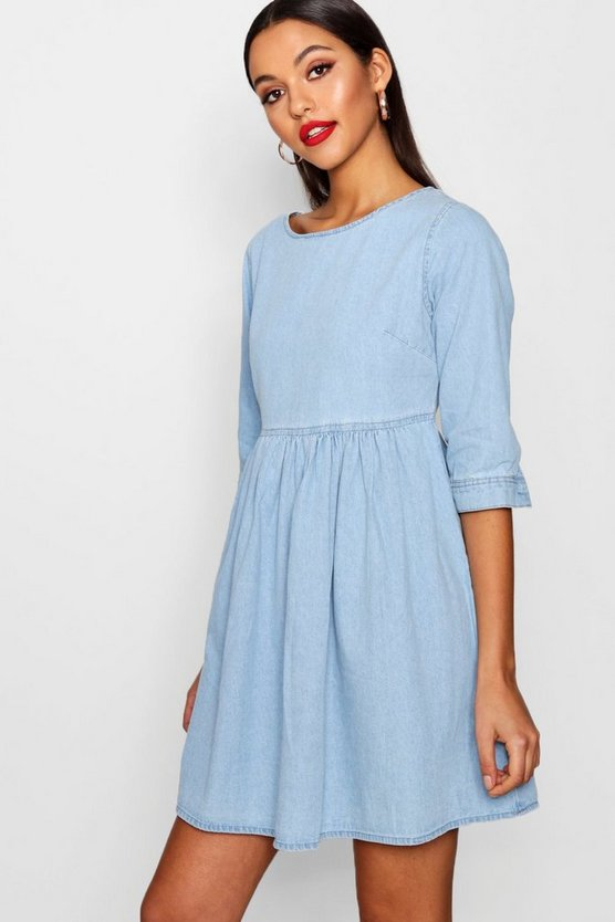 Oversized Denim Smock Dress