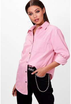 Womens Dusky pink Oversized Cord Shirt
