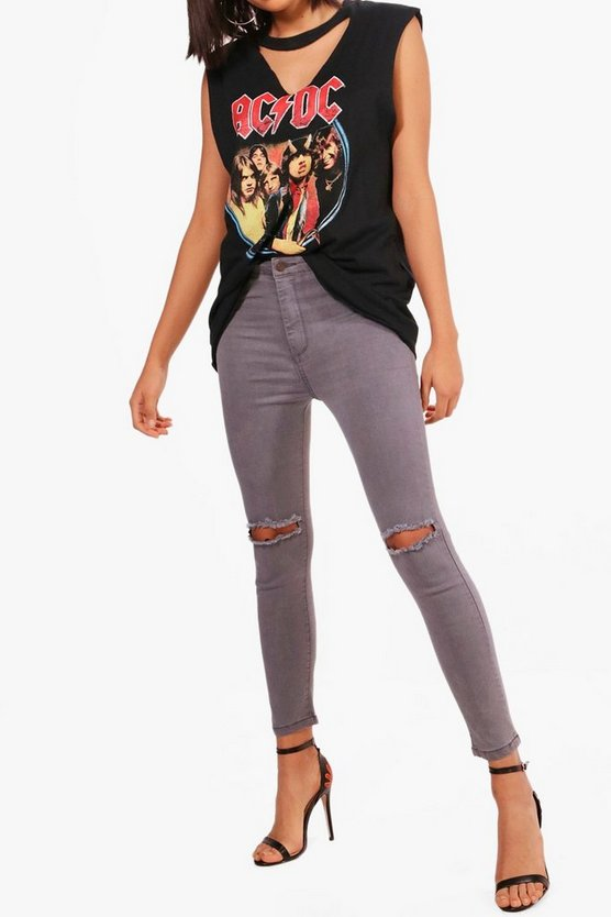Laura High Rise Knee Rip Skinny Jeans