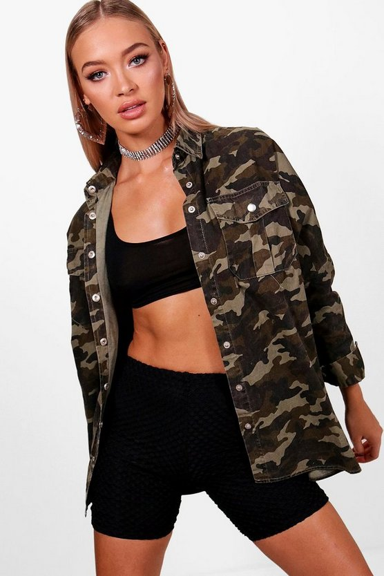 Womens Camo Oversize Camo Denim Shirt