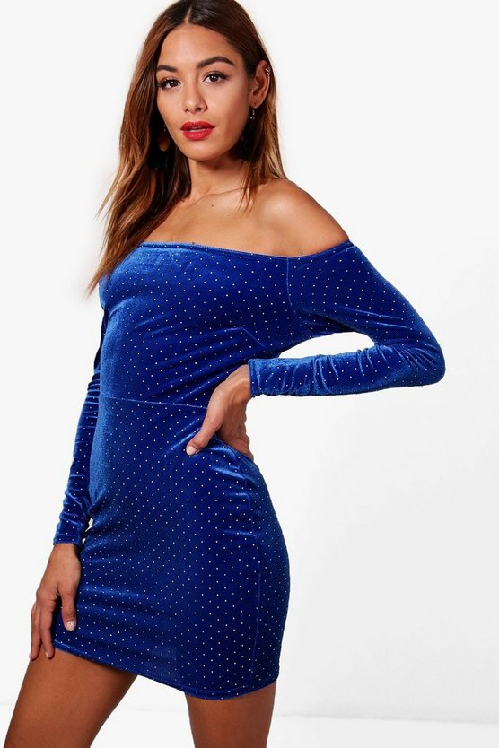 Womens Velvet Off the Shoulder Bodycon Dress