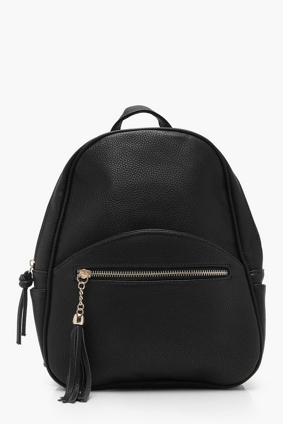 Womens Black Zip & Tassel Rucksack