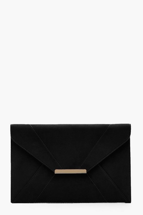 Panelled Suedette Clutch