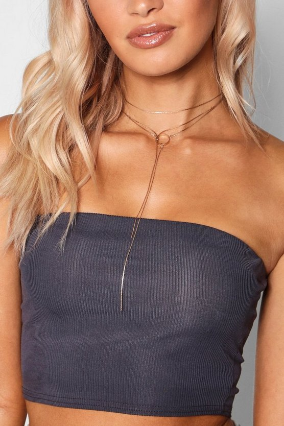Lily Circle Detail Layered Plunge Necklace