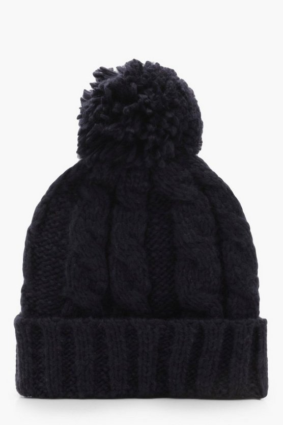 Katie Large Pom Cable Beanie