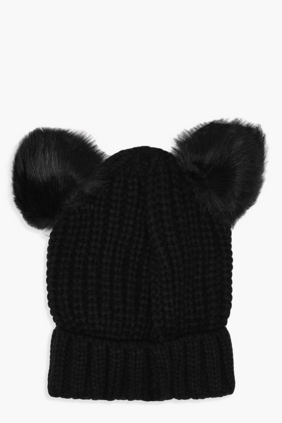 Double Faux Fur Pom Ribbed Beanie