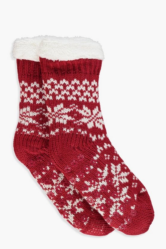 Jenna Fairisle Fleece Lined Socks