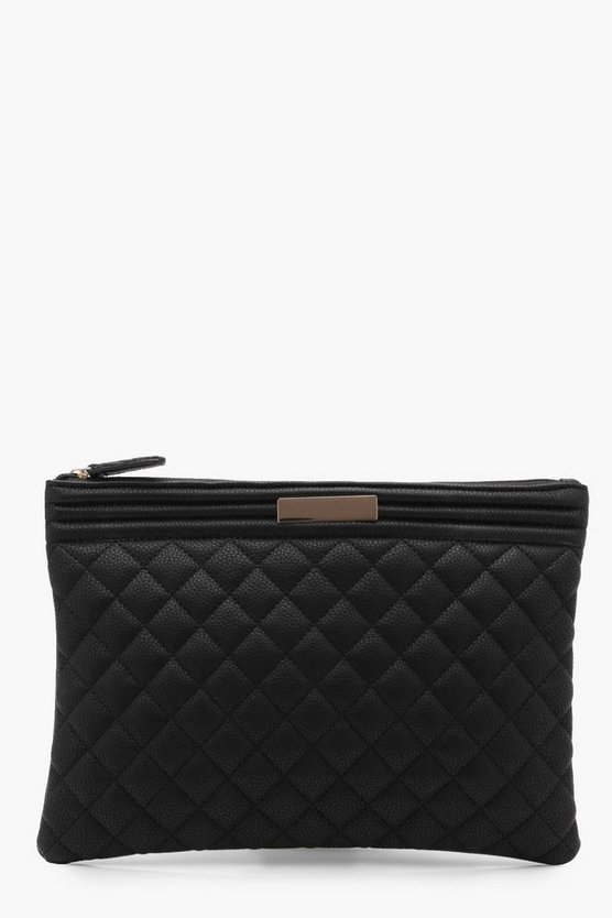 Josie Oversized Quilted Zip Top Clutch