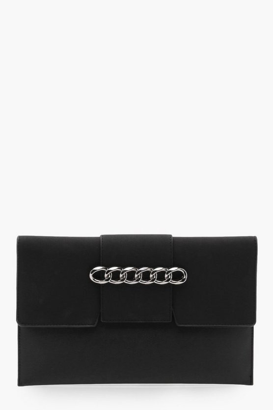 Chain And Suedette Clutch Bag