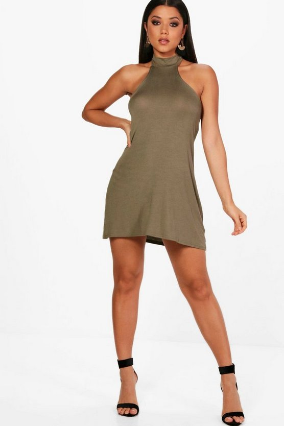 Womens Khaki High Neck Jersey Fit & Flare Dress