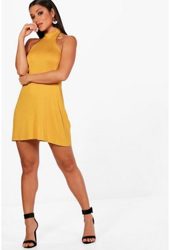Womens Mustard High Neck Jersey Fit & Flare Dress