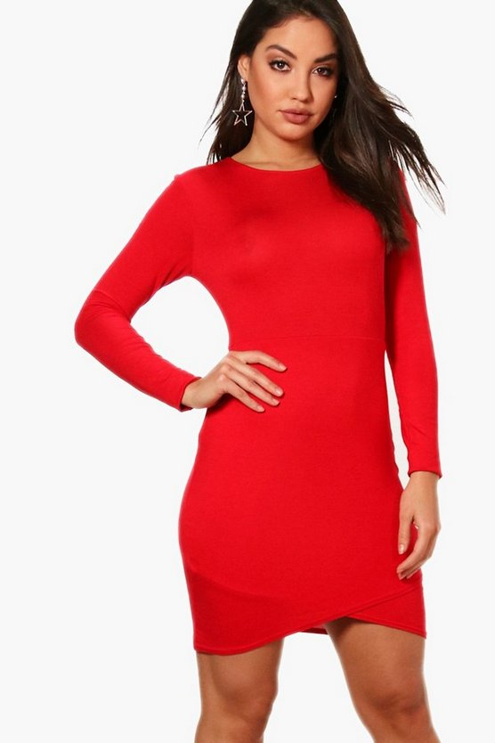 Long Sleeved Wrap Front Bodycon Dress