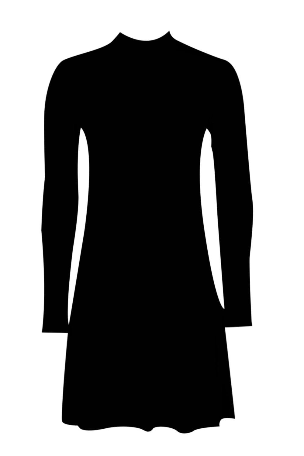 0039c4bec05 Womens Black High Neck Long Sleeved Swing Dress. Hover to zoom. Close video