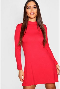 Red High Neck Long Sleeved Swing Dress